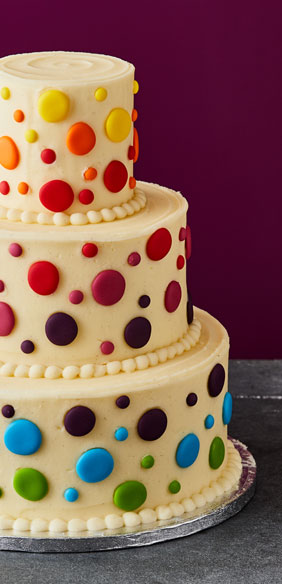 Rainbow Dots Wedding Cake