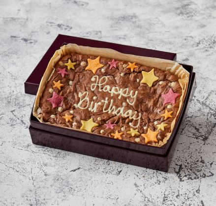 Star Border Happy Birthday Brownie Slab