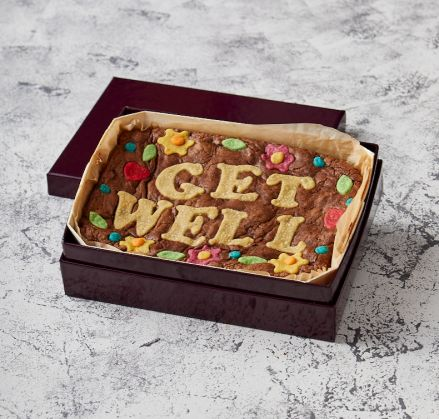 Floral Border Get Well Brownie Slab