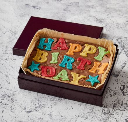 Rainbow Happy Birthday Brownie Slab