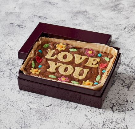 Floral Border Love You Brownie Slab