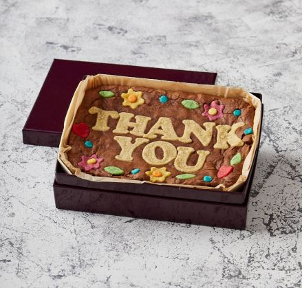 Floral Border Thank You Brownie Slab