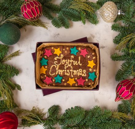 Joyful Christmas Brownie Slab