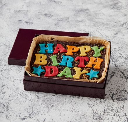 Rainbow Vegan Happy Birthday Brownie Slab